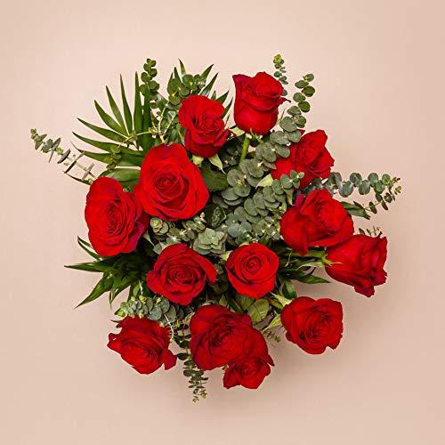Ramo de 15 Rosas Rojas - Lyon - Envío de Ramos de Flores Naturales a Domicilio 24H Gratis - Flores Frescas - Tarjeta dedicatoria incluida de Regalo - Caja Especial para Ramos de Flores Naturales…