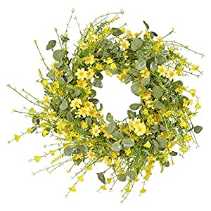 RIABXZ 23.6 Inch Artificial Daisy Flower Wreath, Spring Summer Wreath, Floral Front Door Wreath with Silk Flowers and Green Leaves for Door Window Festival Party Decoration