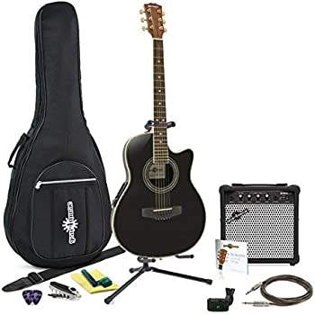 Guitarra Deluxe Con Dorso Redondeado + Pack Completo - Negro: Amazon.es: Instrumentos musicales