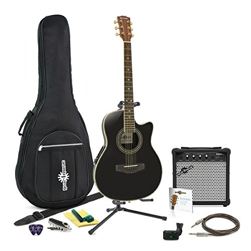 Guitare Electro-Acoustique Roundback Black + Pack Complet
