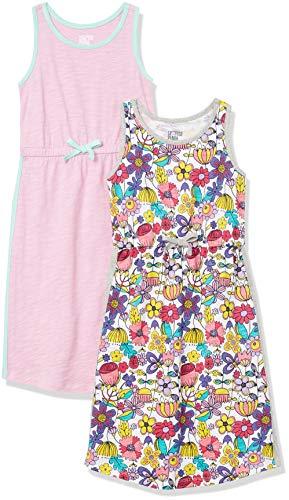 Spotted Zebra Girls' Knit Sleeveless Maxi Dresses, 2-Pack Floral/Pastel Lavender, 4T