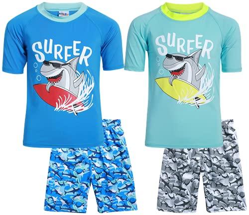 Sweet & Soft Boys UPF 50+ Boys Short Sleeve 4 Piece Rash Guard & Trunk Swimsuit Set (Infant/Toddler/Little Kid), Size 3T, Camo Surfer