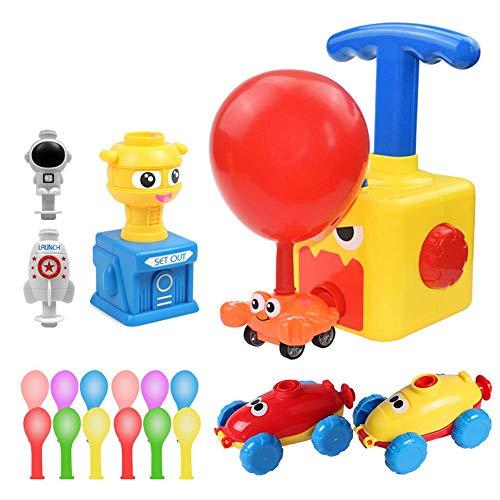 Coche de lanzamiento impulsado por globos, juguete educativo para niños con globo de poder inercial con 12 globos, coche inflable creativo con bomba de globos, juguetes STEM, regalo para niños