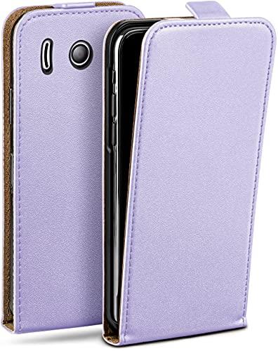 moex Flip Hülle für Huawei Ascend Y300 Hülle klappbar, 360 Grad R&um Komplett-Schutz, Klapphülle aus Vegan Leder, Handytasche mit vertikaler Klappe, magnetisch - Flieder