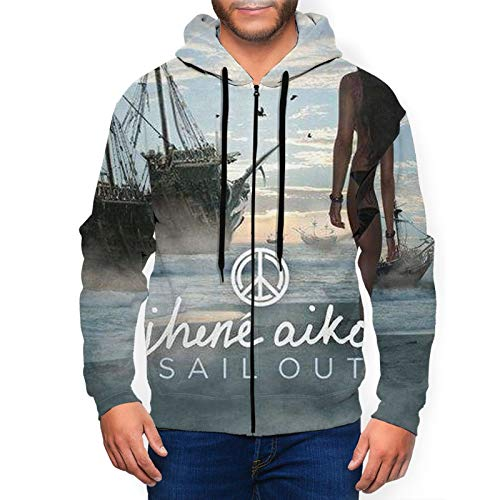 WilliamHArcur Pullover Hooded Sweatshirt 3D Printed Funny Jhene Aiko Sail Out Zip Hoodies Man Sweatshirt-Large Black