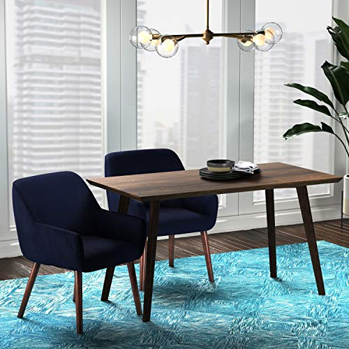 "Amazon Brand – Rivet Julie Mid-Century Modern Dining Room Accent Chair with Arms, 32""H, Ink Blue"