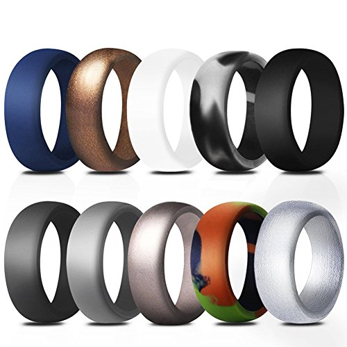 Mingjiahui Silicone Sports Rings 10 Pack Wedding Bands Men - 8.7 mm Wide