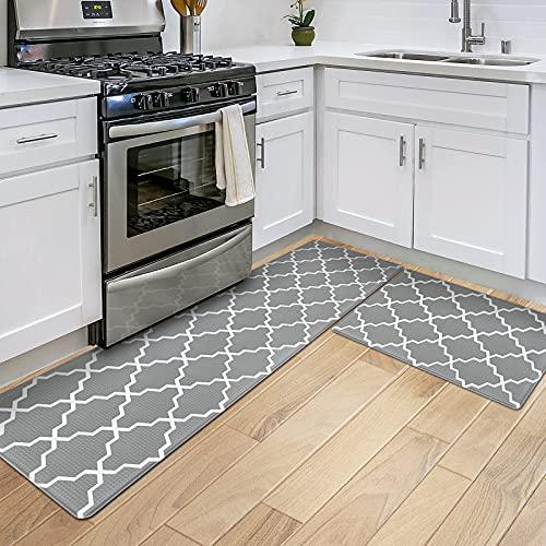 DEXI 2 Stück Küchenteppich Anti Fatigue Kitchen Mat rutschfest Küchenläufer Komfort Stehmatte Ölfest Wasserdicht Teppiche für Esszimmer,Küche,Flur,Büro (44 x 75 cm+44 x 150 cm,grau)
