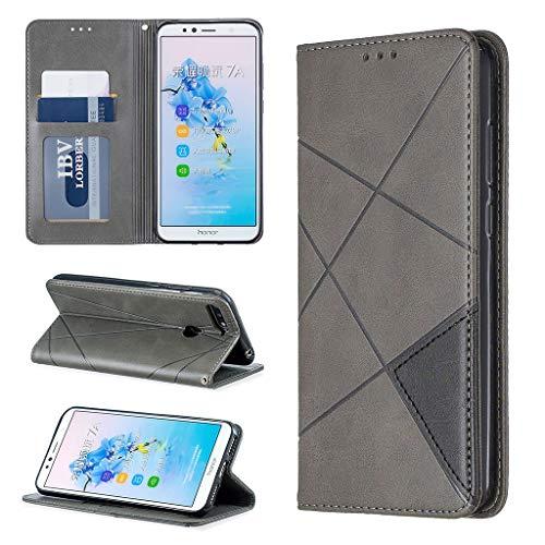 Careynoce Hülle für Huawei Honor 7A,Rhombus Geprägte Pure Farbe leather Brieftasche Flip Cover - Eingebauter Magnetisch Ständer Kartenfach Schutzhülle für Huawei Honor 7A - Grau