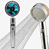 Propeller Driven Handheld Shower Head High Pressure - 360 Degrees Rotating Water Saving Shower Head Premium Turbocharged Kit Excellent Replacement for Bath Showerhead