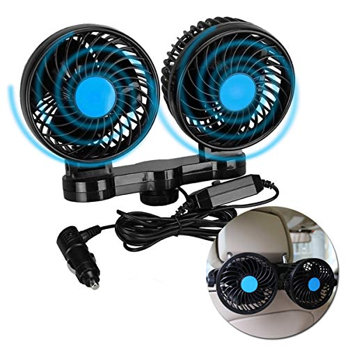 VaygWay 12v Car Cooling Fan – 360 Degree Rotatable Car Fan – Electric 2 Speed Dual Head – Cigarette Lighter Travel Camping Fan – Universal Car Truck RV SUV