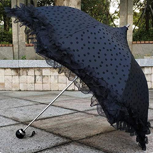 AGWa Sombrilla plegable a prueba de rayos uv Elegante volantes de encaje Sombrilla de boda Sombrilla Potable A prueba de viento Paraguas blanco para mujeres y niñas,Negro