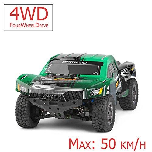 FM 12403| Short Course 1:12 50 km/h schnell! Grün mit Allrad 4WD riesig mit 2,4 GHz Ferngesteuertes Auto Monstertruck und riesen Reichweite! Inkl. AkkuSpritzwassergeschützt Fast unzerstörbar!