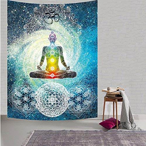 Indian Tapiz Mandala de decoración de Yoga, Zen Meditación de pared Batik Hippie chakra del símbolo del OM tapiz indio colgar dormitorio dormitorio sala de estar decoraciones (57'H x 78' W, grande))