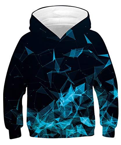 Goodstoworld Sudaderas con Capucha 3D Sudadera Niñas Niño Hoodie Sudaderas Chicos Chica Pullover Geometría Azul Unisex Sweater 14-16 años