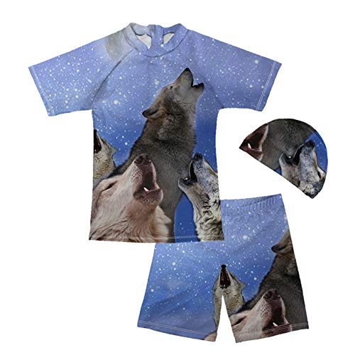 Renewold 3 Piece Swimsuit Trunk and Rashguard Set Baby and Toddler Boys' Swimwear Kids Bathing Suit Breathable Summer Swimming Suit Galaxy Space Wolf Print