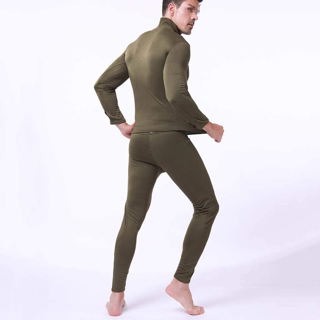 NLIAN- Men Thermal Underwear Sets, Winter Long Sleeve Thermo Underwear Long Winter Clothes Men Motion Thick Thermal Clothing (Color : Green, Size : M)