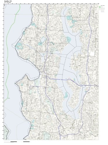Working Maps Zip Code Wall Map of Seattle, WA Zip Code Map Laminated
