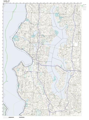 Working Maps Zip Code Wall Map of Seattle, WA Zip Code Map Laminated