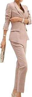 Keaac Women Irregular Two Pcs Casual Blazer Flat Front Skinny Pants Set