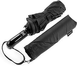 Paraguas de viaje Ergonomad con doble toldo ventilado a prueba de viento - Recubrimiento de teflón y manija ergonómica - Diseño ligero portátil plegable compacto y de alta resistencia al viento