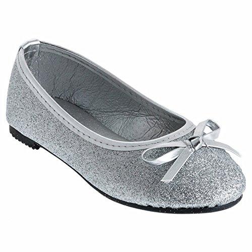 Eva Mode Festliche Mädchen Ballerinas Schuhe Glitzer Schleife in vielen Farben M527si Silber 25