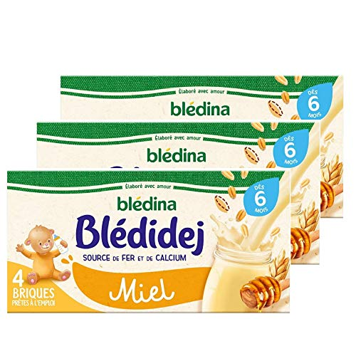 Blédina - Blédidej - 12 briques Croissance - Saveur Miel - Avec des céréales et du lait de suite - Petit déjeuner pour bébé dès 6 mois (Pack de 3x4 briques)