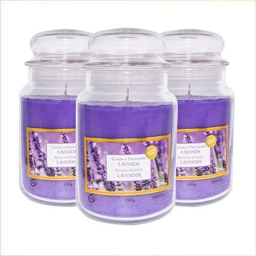 Virsus Candele profumate in Giara Grande Set da 3 Candele profumate Relax Candle profumazione Lavanda