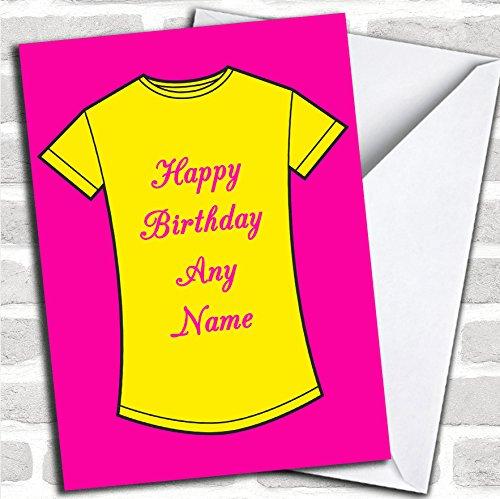 Roze en geel T-shirt verjaardagskaart met envelop, volledig gepersonaliseerd, snel en gratis verzonden