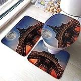 GABRI Alfombra de baño de la Ducha de la Torre Eiffel Luna Llena Cielo Nocturno Anochecer Estilo Digital Mínimo Bandera Francesa Torre Eiffel Alfombra de baño Digital Set