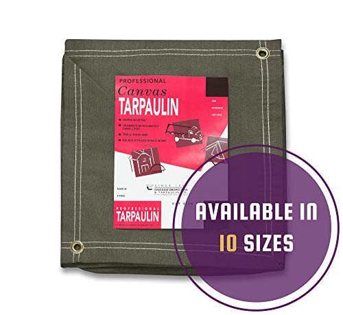 CCS CHICAGO CANVAS & SUPPLY Canvas Tarpaulin, Olive Drab, 12 by 24 feet