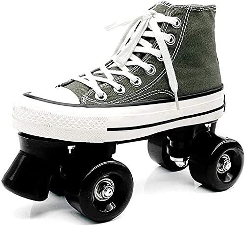 KUXUAN Zapatos de Patines para Niños: Patines de Lona, Zapatos con Ruedas para Mujeres, Niñas, Patines Cuádruples con Zapatos Dobles ásperos,Green-4.5UK=(225mm)=37.5EU