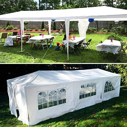 Outdoor Canopy, 10x30 ft Party Gazebo Wedding Tent Storage Shelter Pavilion Cater Waterproof UV-Proof Grill Gazebo for BBQ Beach Event with 8 Removable Sidewalls & 2 Zipped Doors- White
