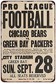 Jesiceny New Tin Sign 1930 Chicago Bears vs. Green Bay Packers Vintage Aluminum Metal Sign 8x12 Inches