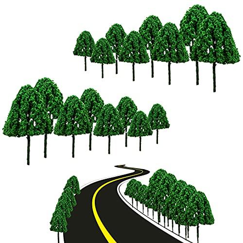 50 Stück Modell Bäume Miniatur Mini Landschaft Landschaftsgestaltung , für DIY Landschaft Zug Bäume Eisenbahn Landschaft Architektur Bäume Modellbäume Landschaft Bäume (Nur Baum,grün)