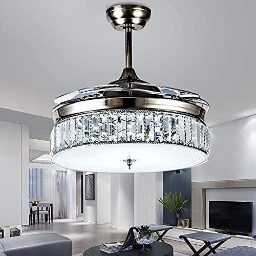 XinQing Ventilatori da soffitto in Cristallo retrattili Luce con Telecomando Ventilatore da soffitto Invisibile a 4 Pale Lampadario Decorazione Artistica 36 Pollici(Color:Silver)