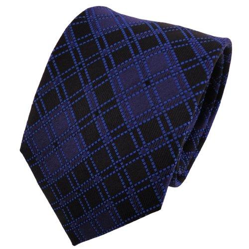 TigerTie diseñador corbata de seda - azul oscuro marina negro a cuadr