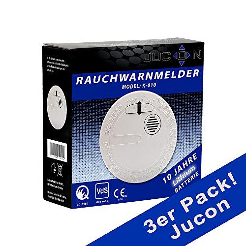 Qualitäts - Rauchmelder 10 Jahre Q-Siegel, VDs Zertifiziert Model K-010 (3er- Pack)