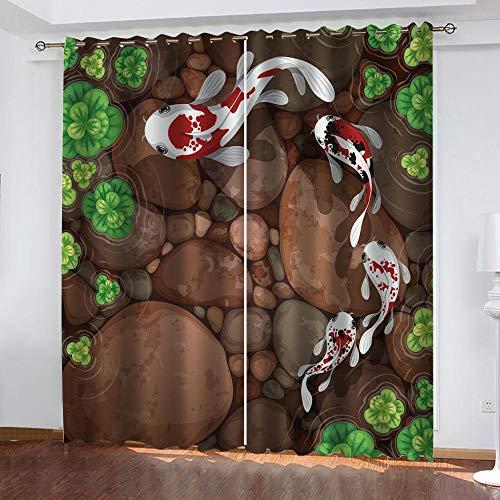 PKUOUFG Estampado de Peces Flor 3DCortinas Opacas W120xH220cmCortinas Cortinas aislantes para Decorar dormitorios Infantiles