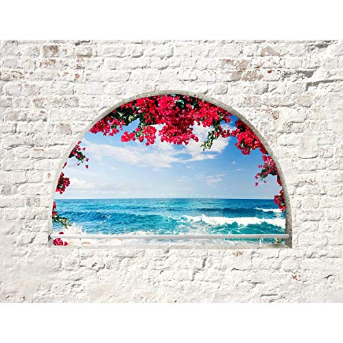 Fototapete Fenster Strand und Meer 352 x 250 cm Vlies Tapeten Wandtapete XXL Moderne Wanddeko Wohnzimmer Schlafzimmer Büro Flur Weiss Blau 9074011b
