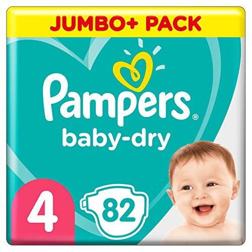 Pampers Couches Baby-Dry Taille 4 (9-14kg) Jusqu'à 12h Bien Au Sec et Avec Double-Barrière Anti-Fuites, 82 Couches
