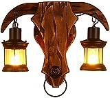 E27 Außen-wandleuchte Vintage Wandlampe Holz 2-flammig Gartenlampe Wasserdicht Ip44 Antik Industrial Hoflampe Esszimmer Lampe Aluminum Glas Lampenschirm Für Treppen Park Balkon H 40 Cm
