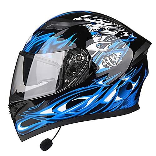 Bluetooth Cascos Integrales de Moto,con Doble Visera Antideslumbrante,Cascos de Motocross Racing Crash Helmet Diseño Liviano para Hombres y Mujeres Cascos Integrales,Homologado ECE C,M=54~57cm