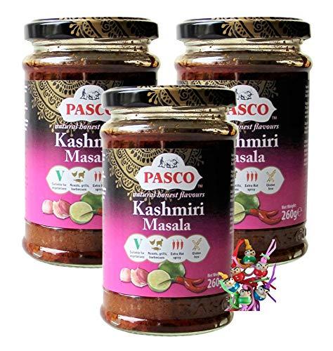 yoaxia ® - 3er Pack - [ 3x 260g ] PASCO Kashmiri Masala / Extra Hot & Spicy Currypaste + ein kleines Glückspüppchen - Holzpüppchen