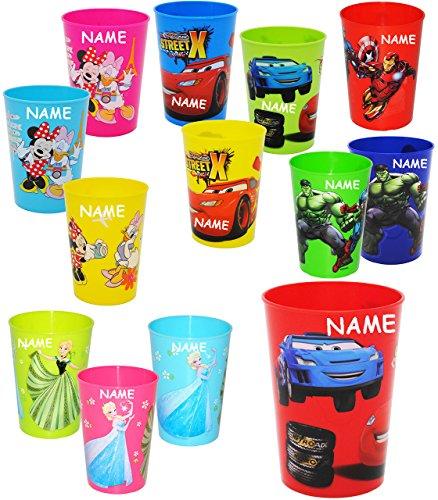 alles-meine.de GmbH 1 Stück _ 3 in 1 - Trinkbecher / Zahnputzbecher / Malbecher - Becher -  Mädchen Motiv  - incl. Name - 280 ml - Trinkglas aus Kunststoff Plastik - für Kinder..