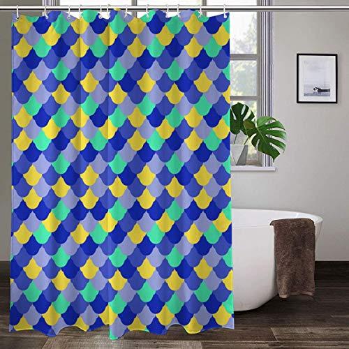 XCBN Cortina de Ducha Impermeable baño decoración geométrica Colorida Escamas de Pescado Cortinas de baño de Tela A6 180x200cm