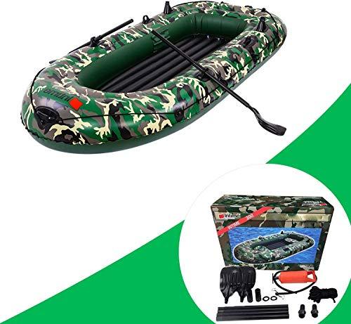TELAM Kayak inflable de balsa – 2/3/4 persona barco de pesca, barco de pesca, resistente a desgarros, portátil, plegable, a la deriva, kayak de camuflaje con 2 pares de remos, cuerda