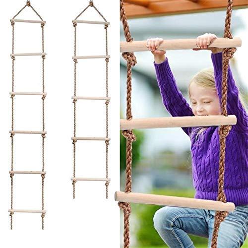 CHENGTAO Wooden Rungs PE Rope Ladder Children Climbing Indoor Outdoor Garden Sport Rope Swing Safe Fitness Climbing Ladder Durable (Color : 6 Rungs)