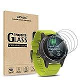 AKWOX [4 Unidades] Protector de Pantalla para Garmin Fenix 5 [9H Dureza] Cristal Vidrio Templado para Garmin Fenix 5 Cristal Templado-NO para Fenix 5s/5x