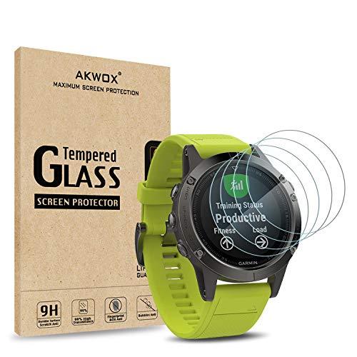 AKWOX 4 Unidades Protector de Pantalla para Garmin Fenix 5 9